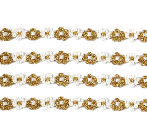 "3/8"" x 25 Yards Gold-White French Rococo Ribbon Trim - Pack of 5"
