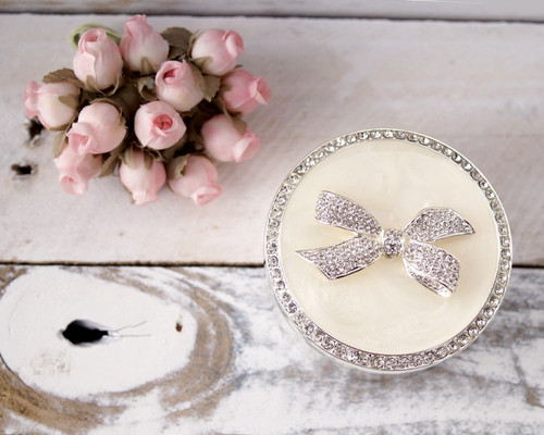 Round Enamel Ring Box with Rhinestone Bow - 1 Box