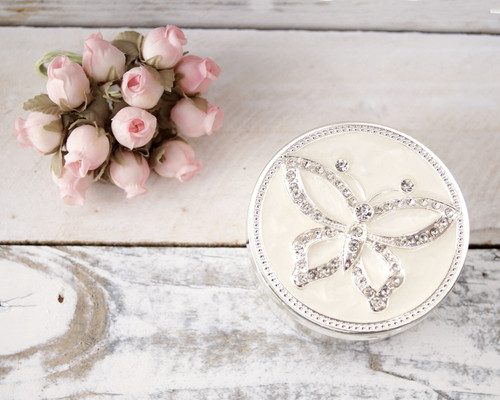 Round Enamel Ring Box with Rhinestone Butterfly Design - 1 Box