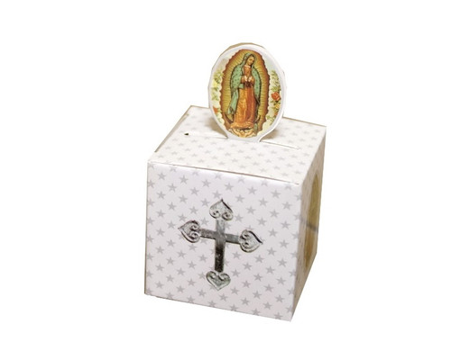 "2"" Silver Guadalupe Paper Favor Box - Pack of 50"