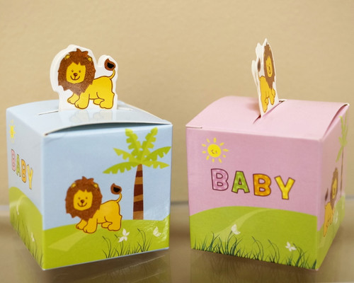 "2"" Baby Shower Paper Favor Box ""Lion"" - Pack of 50"