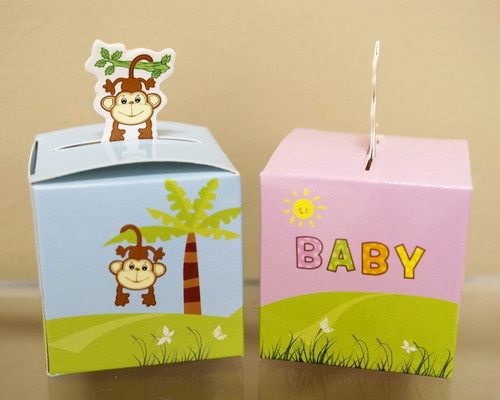 "2"" Baby Shower Paper Favor Box ""Monkey"" - Pack of 50"