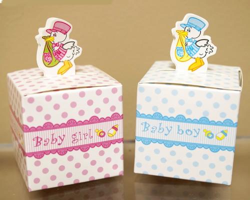 "2"" Baby Shower Paper Favor Box ""Stork"" - Pack of 50"