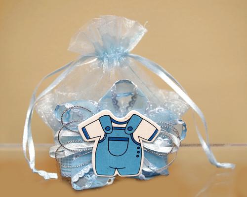 Blue Baby Shower Plastic Basket Favor Box  - Pack of 12