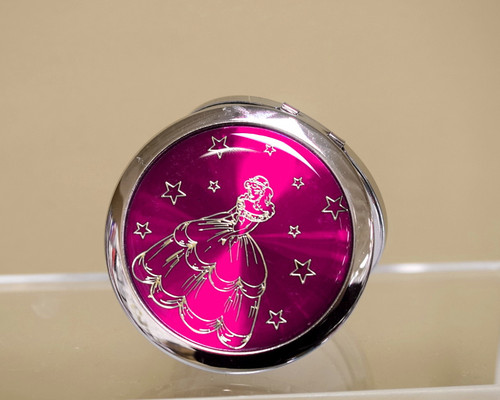 "3"" Fuchsia Quinceanera Compact Mirror - 12 Mis Quince Compact Hand Mirrors"