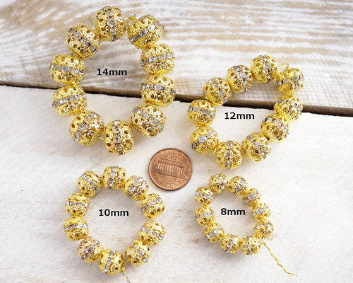 12mm Topaz Gold Filigree Spacer Beads with Rhinestones - Pack of 100 Pieces
