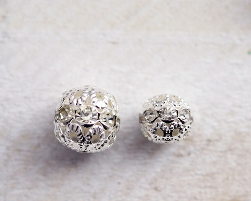 10mm Silver Filigree Spacer Beads with Rhinestones - Pack of 100 Pieces