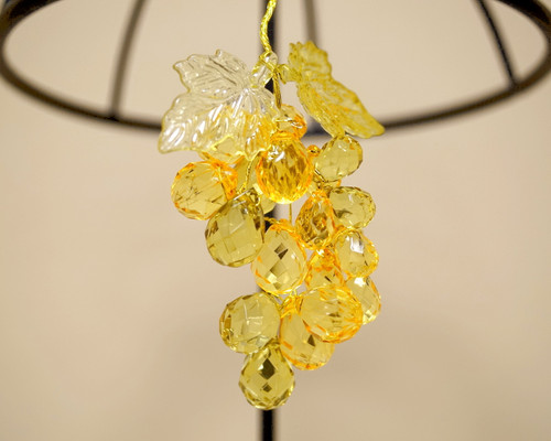 """3"""" Amber Artificial Acrylic Grape Cluster on Wire - Pack of 12 Cluster"""