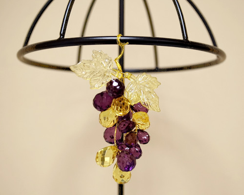 """3"""" Purple Artificial Acrylic Grape Cluster on Wire - Pack of 12 Cluster"""