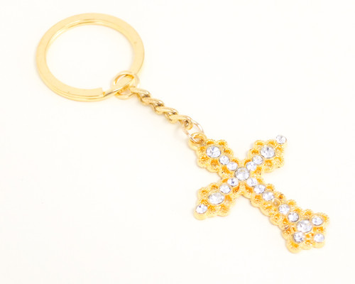 Small Gold Metal Rhinestone Cross Keychain - Pack of 12