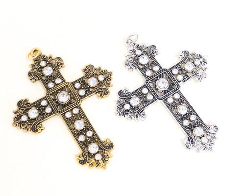 Antique Metal Cross Pendants with Rhinestones - Pack of 12 Pieces