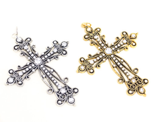 Antique Ornate Metal Cross Pendants with Rhinestones - Pack of 12 Pieces