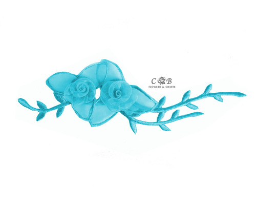"7"" Turquoise Organza Patch Flower with Leaves - Pack of 12"