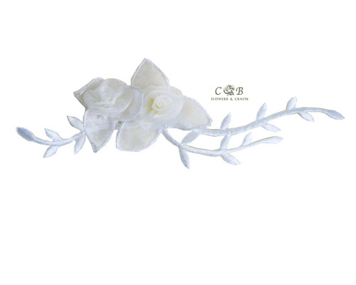 "7"" White Organza Patch Flower with Leaves - Pack of 12"