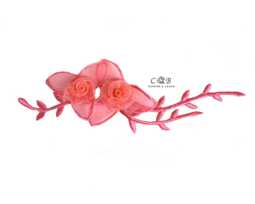 "7"" Coral Organza Patch Flower with Leaves - Pack of 12"