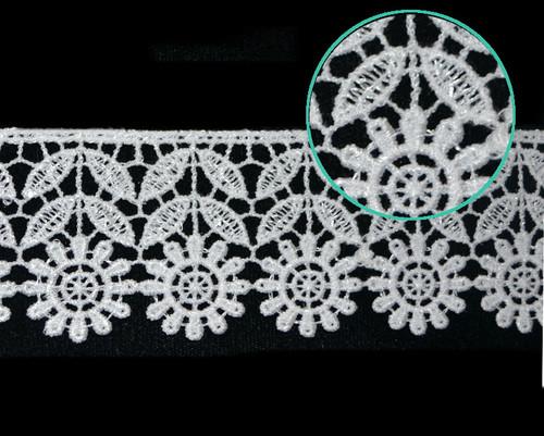 """2""""x30 Yards White Venise Lace Trim -  Floral Venice Lace Wholesale"""