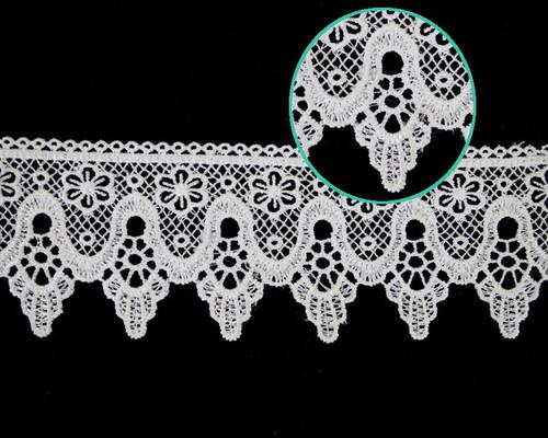 """2 1/4""""x30 Yards White Venise Lace Trim - Floral Venice Lace Wholesale"""