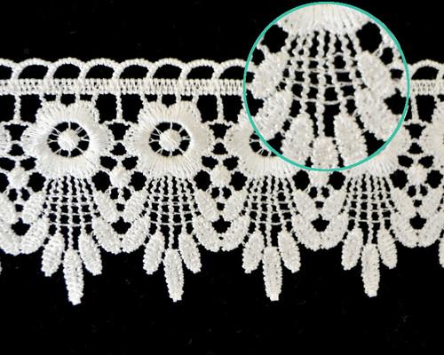 """2 3/4""""x 30 Yards White Venice Lace Trim - Floral Venise Lace Wholesale"""