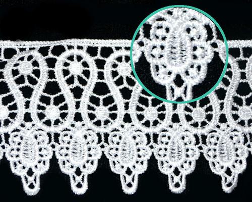 """3 1/4""""x15 Yards White Venice Lace Trim - Venise Lace Wholesale"""