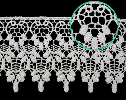"""3.5""""x 15 Yards White Venice Lace Trim - Venise Lace Wholesale"""