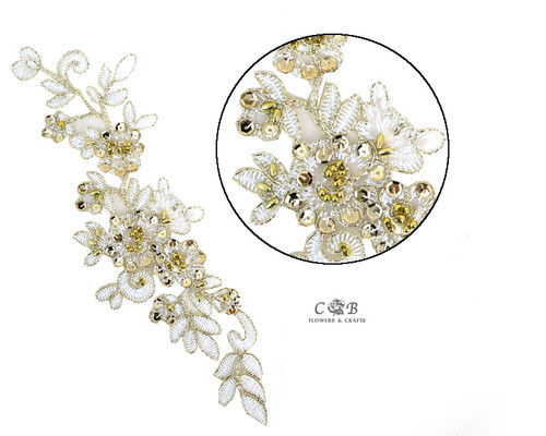 "3.5"" Wide x 12 Long Gold Bridal Venice Lace with Beaded Sequins - Pack of 25 Venise Lace Collar Pairs"