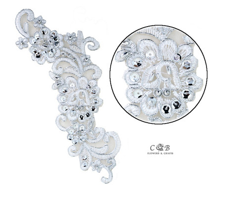 "3"" Wide x 9"" Long Silver Bridal Venice Lace with Beaded Sequins - Pack of 25 Venise Lace Collar Pairs"