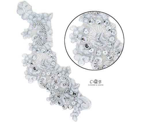 "3"" Wide x 9"" Long Silver Bridal Venice Lace with Beaded Sequins - Pack of 25 Silver Venise Lace Collar Pairs"