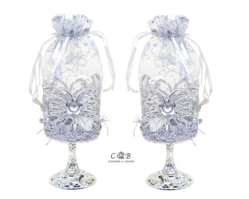 "2"" x 6.5"" Silver Organza Bag Favor Trinket Box  - Pack of 12"