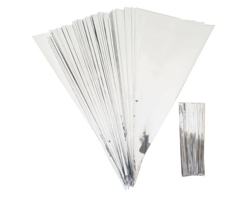 "11.5 x 5 3/4"" Silver Bottom Clear Top Cone Shaped Cello Treat Bags with Twist Ties - Pack of 1000 Bags"