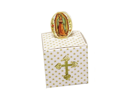 "2"" Gold Guadalupe Paper Favor Box - Pack of 50"
