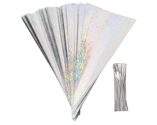 "11.5 x 5 3/4"" Iridescent Glitter Bottom Clear Top Cone Shaped Cello Treat Bags with Twist Ties - Pack of 1000 Bags"