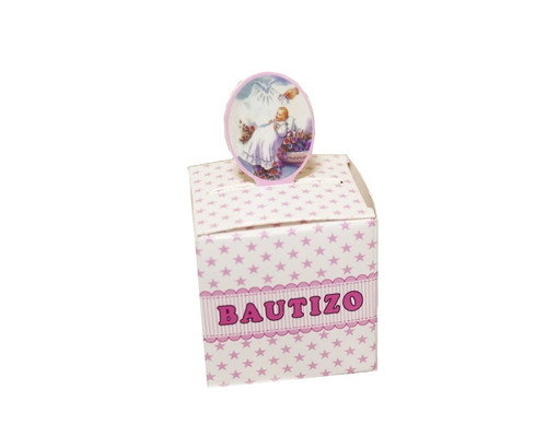 "2"" Pink Baptism Paper Favor Box for Girls - Pack of 50"