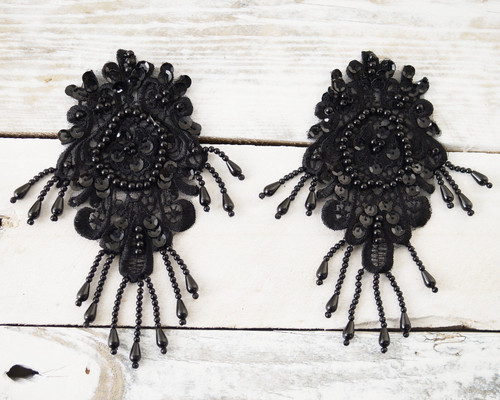"3.5"" Wide x 6.5"" Black Long Venise Lace Applique - Pack of 24 Venice Lace Appliques"