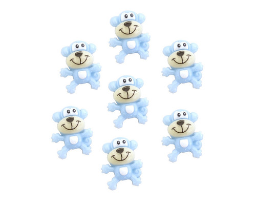 "3/4"" Blue Mini Polyresin Monkey for Baby Shower Favors and Decoration - Pack of 100 Pieces"