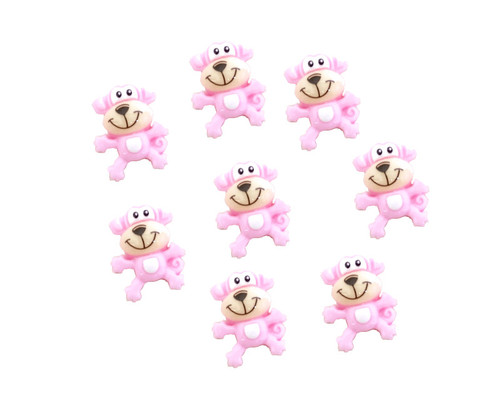 "3/4"" Pink Mini Polyresin Monkey for Baby Shower Favors and Decoration - Pack of 100 Pieces"
