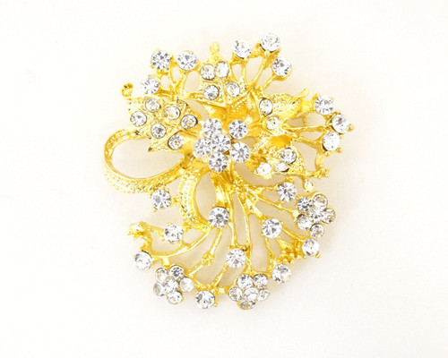 "1.5"" x 2"" Gold Floral Fashion Rhinestone Brooch Pin - Pack of 12"