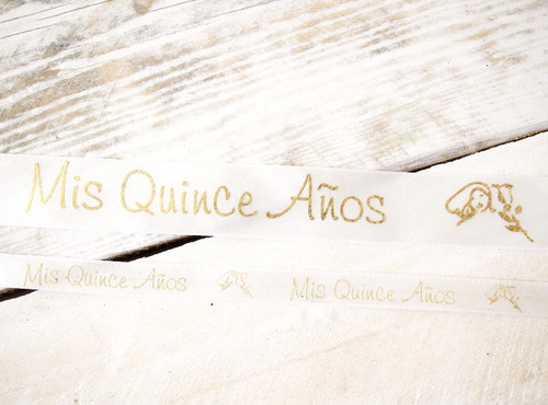 "3/8"" x 25 Yards Gold ""MIs Quince Anos"" Spanish Printed Quinceanera Ribbon - Pack of 5 Rolls"