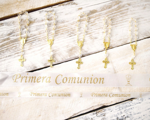 "3/8"" x 25 Yards Gold ""Primera Comunion"" Spanish Printed First Communion Ribbon - Pack of 5 Rolls"
