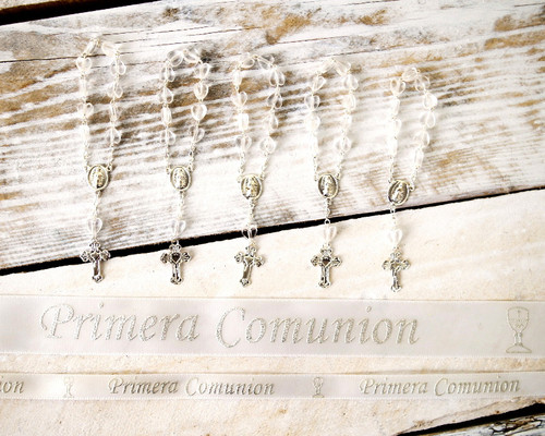 "3/8"" x 25 Yards Silver ""Primera Comunion"" Spanish Printed First Communion Ribbon - Pack of 5 Rolls"