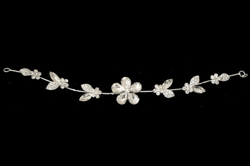 "10"" Silver Floral Bridal Hair Band with Rhinestones"