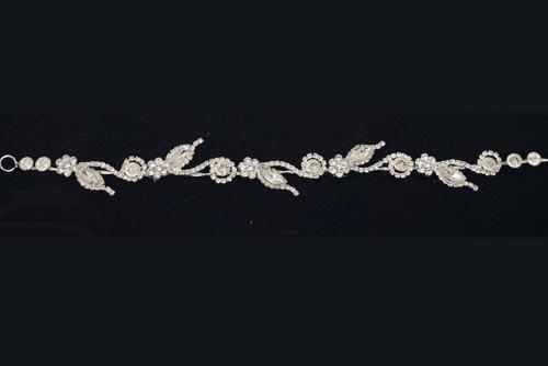 "10"" Silver Crystal Bridal Hair Band with Rhinestones"