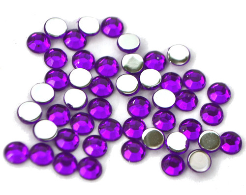 Purple 4mm SS16  Wholesale Flat Back Acrylic Rhinestones - Pack of 1,000 Pieces