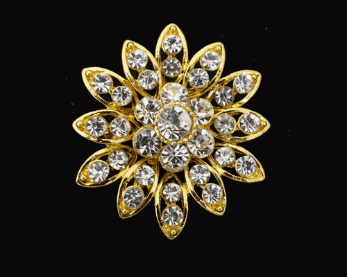 "1.5"" Gold Rhinestone Fashion Brooch Pin   - Pack of 12"