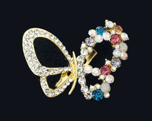 """1.5"""" Gold Butterfly Brooch Pin With Colored Rhinestone Details   - Pack of 12"""