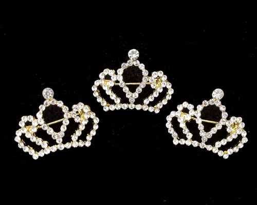 """1"""" Gold Miniature Crown Brooch Pin With Clear Rhinestones - Pack of 12"""