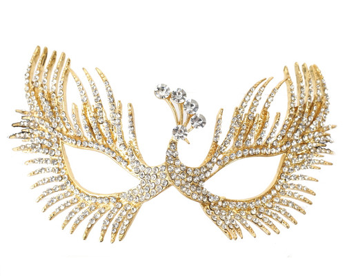 """7"""" Gold Venetian Masquerade Wedding Crystal Peacock Mask"""