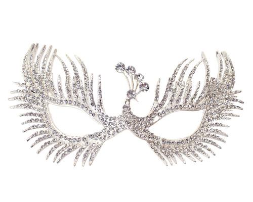 """7"""" Silver Venetian Masquerade Wedding Crystal Peacock Mask"""