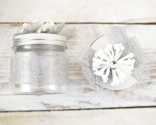 "2"" Silver Round Embellished Favor Box With Tin Lid - Pack of 12"