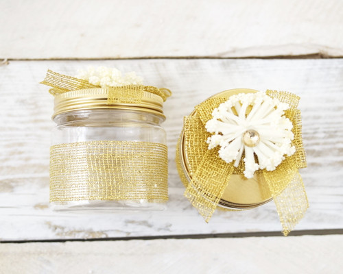 "2"" Gold Round Embellished Favor Box With Tin Lid - Pack of 12"