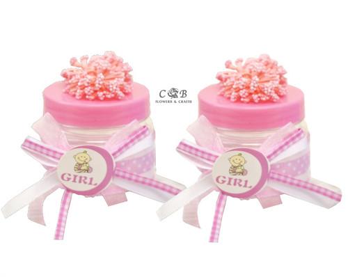 """2"""" Pink Baby Shower Embellished Favor Boxes - Pack of 12"""